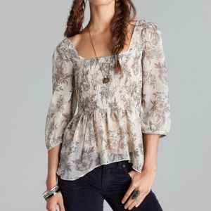 Free People Sheer Floral Print Square Neck Blouse